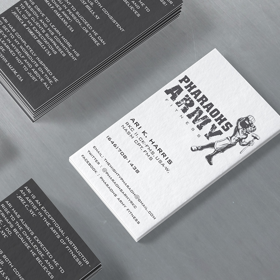 Pharaoh's Army Fitness log o & business card